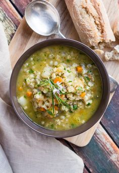 Hearty Winter Vegetable Soup. Brimming with pearl barley & winter root vegetables.
