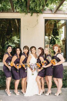bridesmaids in dark purple captured by Heather Elizabeth Photography http://www.weddingchicks.com/2014/02/24/sweet-purple-and-orange-summer-wedding-at-a-california-vineyard/