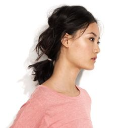 teased ponytail for mid-length hair.