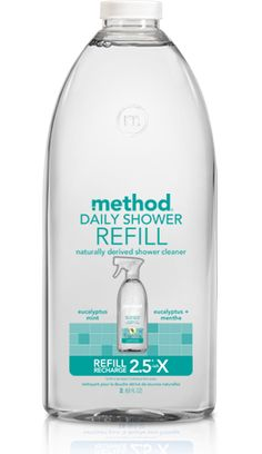 with method daily shower cleaner refill in eucalyptus mint, you'll never have to scrub, wipe or rinse your shower again. just spray a fine mist on wet surfaces.