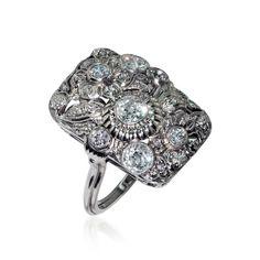 Cocktail-Ring mit  1,17ct Altschliffdiamanten und Diamantrosen in Weissgold #antik #Schmuck #Schmuckboerse #vintage #antikerschmuck #antiquejewels #heritagejewels #jewelry #estatejewels #verlobungsringe #ring Wir kaufen verkaufen Ihren Schmuck, antike Juwelen, Edelsteine, Brillanten aus Privatbesitz / Erbschaft! Wir beraten Sie für eine optimale Verwertung - mehr #Ringe : https://www.schmuck-boerse.com/index-gold-ringe.htm