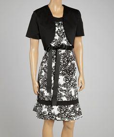 Look at this #zulilyfind! Black & White Floral Cap-Sleeve Dress & Shrug #zulilyfinds