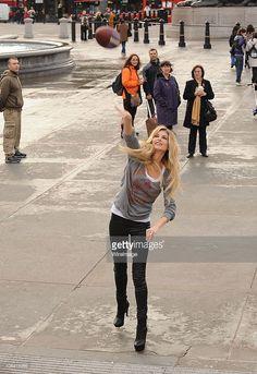 American Model Marisa Miller promotes NFL game taking place in London this week at Trafalgar Square on October 28, 2010 in London, England.