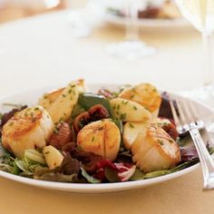 Seared Scallops with Port-Poached Figs and Apple Salad | MyRecipes