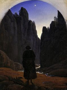 Carl Gustav Carus (1789–1869), Pilgrim in a Rocky Valley, c.1820; Oil on canvas, 22x28 cm | Alte Nationalgalerie, Berlin