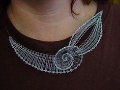 Custom design course at Ivy Domanjové Lace Necklace, Lace Jewelry, Crochet Necklace, Bobbin Lacemaking, Bobbin Lace Patterns, Lace Heart, Victorian Lace, Needle Lace, Lace Making