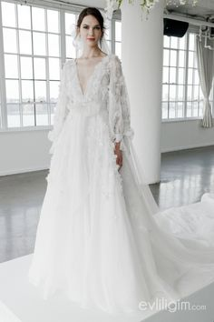 Stunning floral wedding dress with sleeves from the inimitable Marchesa and Marc. Stunning floral wedding dress with sleeves from the inimitable Marchesa and Marchesa Wedding Dress, Marchesa Bridal, Wedding Dress Sleeves, Long Sleeve Wedding, Marchesa Spring, Muslim Wedding Dresses, Dream Wedding Dresses, Bridal Dresses, Wedding Gowns