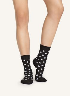 A polka dot pattern covers these cotton blend ankle socks. Polka Dot Socks, Polka Dots, Marimekko, Ankle Socks, Black And White, Classic, Style, Closet, Products