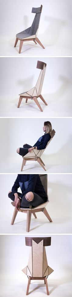 Made in plywood and felt, but designed to feel almost like a lycra-esque stretchable fabric, the Flex chair casually stretches backwards and inwards from the sides when you lean back, going from a conventional seat to a more reclined chair. It's rather clever how the seemingly rigid chair turns out in fact to be flexible, with a clever detail in how when you lean back, you get these makeshift arm-rests that form under your hands!
