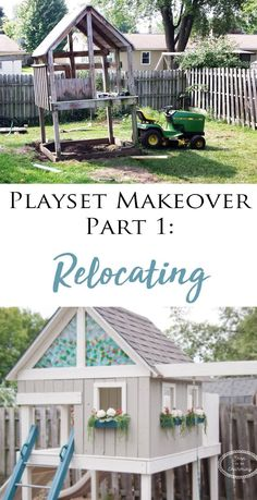 Playset Makeover Part Relocating - Soon To Be Charming My Favorite DIY Project! Our custom playset makeover looks so great in our backyard! Playground Set, Backyard Playground, Backyard Retreat, Backyard For Kids, Wood Swing Sets, Backyard Playset, Kids Playset Outdoor, Wooden Playset, Gardens