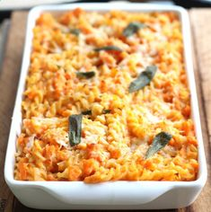 Baked pasta in a creamy, cheesy sauce made with roasted sweet potatoes and Greek yogurt.
