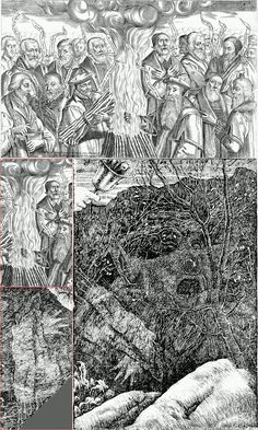 """Faiths Victorie in Romes Crueltie & The Vanishing, anonymous & Henry Holiday, book illustrations (published by Thomas Jenner & published by Lewis Carroll in """"The Hunting of the Snark""""), & 1876 Black And White Artwork, Black And White Illustration, Unusual Art, Unique Art, Thomas Cranmer, Vintage Illustration Art, Book Illustrations, Walter Crane, Research Images"""