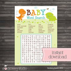 Dinosaur Baby Shower Word Search Printble Game - Instant Download - Boy Baby Shower Game