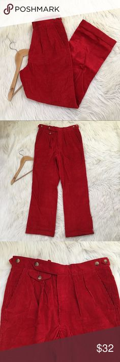 "VTG Nordstrom Womens Sz 31 Red Corduroy Pants • Red  • Pleated  • Mid/High Rise  • Wide Leg  • Excellent condition no flaws  • Super adorable and unique!  Waist flat: 15.5""  Inseam: 29""  Rise: 11.5""  📌NO lowball offers 📌NO modeling 📌NO trades  Come check out the rest of my closet!I have various brands and ALL different sizes Nordstrom Pants Trousers"