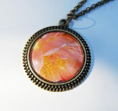 Large rose photo pendant necklace antique brass by NewCreatioNZ, $27.00