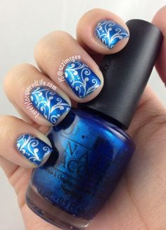Lovely Lacquered Life: Blue Nails for Autism - OPI Swimsuit...Nailed it