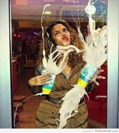 That Awkward Moment You Slam Into a Glass Door While Holding Milkshakes