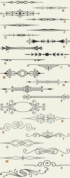 Letterhead Fonts / LHF Engraver Ornaments 1 / Old-fashioned Scrolls . - Letterhead Fonts / LHF Engraver Ornaments 1 / Old Fashioned Scrolls - Ornament Font, Letterhead, Design Elements, Stencils, Clip Art, Graphic Design, Drawings, Flourishes, Crafts