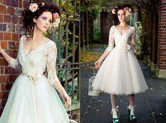 Custom-V-neck-Tea-length-3-4-sleeve-Wedding-Dress-Bridal-Gown-Formal-Dresses