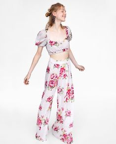 Image 6 of FLORAL PRINT CROP TOP from Zara