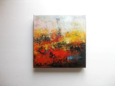 """Red oil abstract Painting 10""""x10"""" Oil on Canvas original  abstract painting """"Golden Horizon"""". $80.00, via Etsy."""