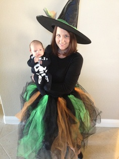 My DIY homemade witch costume. Can mix or match colors. Black & purple. Black & green. Black & Orange. Or all colors.