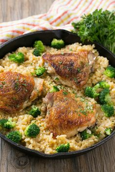 This one pot chicken with cheesy and creamy cheddar broccoli rice is a complete meal without all the cleanup.