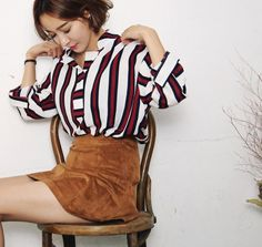 ssongbyssong - Open-Placket Striped Top