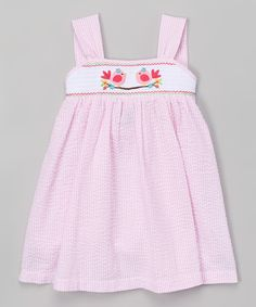 This Pink Smocked Bird Seersucker Dress - Infant & Toddler by Lil Cactus is perfect! #zulilyfinds