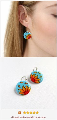 Sunflower Earrings Hand Painted Unique Sunflower Wedding Jewelry Sunflower bridesmaid Gift Sunflower Bride earrings Unique Gift For her Silver For Jewelry Making, Jewelry For Her, Jewelry Shop, Bride Earrings, Unique Earrings, Dangle Earrings, Sunflower Necklace, Sunflower Jewelry, Sunflower Gifts