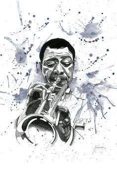 Louis Armstrong illustration, artliner and watercolor