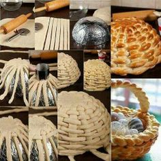 This idea is so fun ! I'd like to make a braided bread basket . To make this bread basket first you will knead a bread dough. After rise up, roll out with a rolling pin until get a large square 11 x 11 inch and thick.Cut the dough into strips — inch… Art Du Pain, Easter Recipes, Holiday Recipes, Holiday Meals, Bread Art, Braided Bread, Bread And Pastries, No Yeast Bread, Creative Food