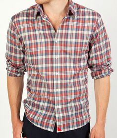 This is a great red, white, and blue summer plaid. The perfect fit for a gentleman.