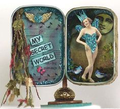 Altoid tin art, Assemblage miniature, Mixed media art, Fairy art, ''My . Mixed Media Boxes, Mixed Media Art, Altered Tins, Altered Art, Matchbox Art, Tin Art, Art Textile, Tin Boxes, Cigar Boxes