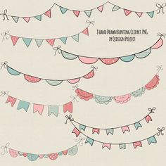 Hand drawn Bunting Clipart Doodle bunting Scrapbooking Commercial Use Hand drawn Garland Invitation Handmade Poster Design Doodle Drawings, Doodle Art, How To Doodle, Drawing Ideas List, Sketch Note, Karten Diy, Create Invitations, Bullet Journal Inspo, Bullet Journal Events