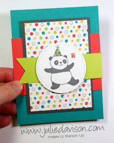 VIDEO: Double Flap Card Tutorial 3 New Cards ~ Stampin' Up! Party Pandas Birthday Card ~ 2018 Sale-a-Bration ~ www.juliedavison.com