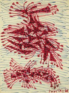 Соостер Юло (1924 — 1970) «Абстрактная композиция». 1960. Бумага, цветные фломастеры, 14 х 10,8 см.