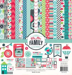 Echo Park Paper Co. We Are Family Collection Paper & Sticker Set Echo Park Paper, Paper Companies, We Are Family, Scrapbook Paper, Scrapbooking Kit, Papers Co, Sticker Paper, Sewing Crafts, Paper Crafts