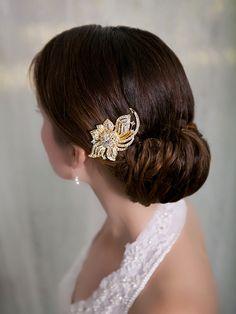 Gold Crystal Hair Comb, Rhinestone Bridal Hair comb Vintage Hair Brooch Wedding Jewel Comb Classic Wedding Hair Accessories - Ready to Ship