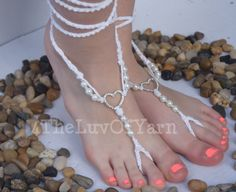 Barefoot Sandals, Beaded Barefoot Sandals, Crochet Barefoot Sandals, Foot Jewelry, White Heart, Nude Shoes, Free Shipping