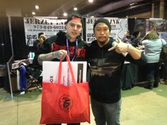 Mithra's Wayne Reyes with Danny Lepore of Bullseye Tattoo and Best Ink: Season 3 - picking up some supplies at the 2014 Philadelphia Tattoo Arts Convention.