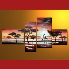 100% Hand-painted 4-PCS group oil painting 40 x 60  cm/16 x 24 in30 x 80 cm/12 x 32 in40 x 80 cm/16 x 32 in40 x 40 cm/16 x 16 in