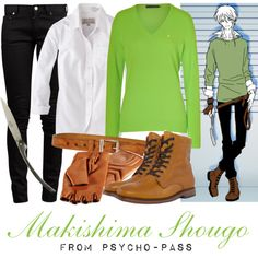 [Psycho-Pass] Makishima Shougo - Episode 9 by animangacouture on Polyvore featuring Ralph Lauren Blue Label, Jack Wills, Yves Saint Laurent, H by Hudson, Ralph Lauren, Peuterey, Forge de Laguiole, anime, CasualCosplay and psychopass