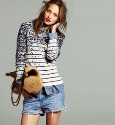 Stripes, sequins, denim.