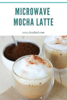 These delicious Mocha Lattes are made completely in the microwave in just 3 minutes. Save time and money at the drive-through and make these easy drinks at home! Espresso Recipes, Coffee Recipes, Brunch Recipes, Sweet Recipes, Cappuccino Recipe, Latte Recipe, Hot Cocoa Mixes, Starbucks Recipes, Easy Baking Recipes