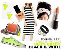 Spring Palettes: Fresh Peach, Neon Green, Black & White #outfit #style #fashion