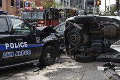 Police determined an Ann Arbor police officer was at fault in a three-vehicle rollover crash last week in downtown Ann Arbor.