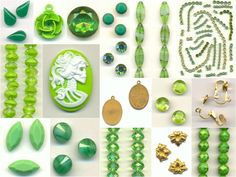 shades of green on #sale this week! #jewelrysupplies #vintage