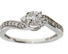 Natural .25ct diamond eng. only 10KT white gold