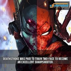 Interesting #deathstroke trained Two-face to be a sharpshooter  Follow Enebriated for more #awesome #geektent all day everyday. Now offering weekly #freebies #sladewilson #supervillainfact #supervillainfacts #fact #facts #supervillain #villain #ComicBooks #comicfact #dcfact #superheroencyclopedia by superheroencyclopedia.com